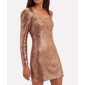 NEW| INTERMIX rose gold sequinned mini dress